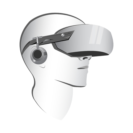 Virtual reality headset vector modern illustration, VR goggles Vektoros illusztráció