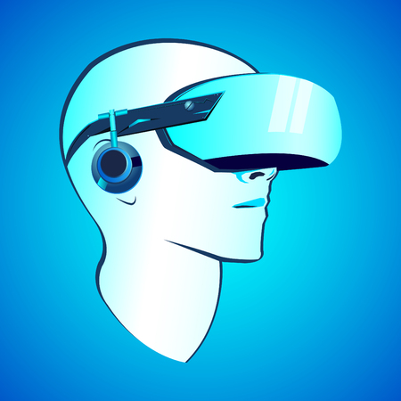 Virtual reality headset vector modern illustration, VR goggles