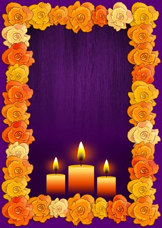 Cartel del día de los muertos con flores tradicionales de cempasúchil utilizados para altares y velas, fondo de vacaciones mexicanas. Foto de archivo