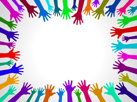 Colors hands up background, concept of cooperation and reach poster, card ready for your design. Stock Illustratie