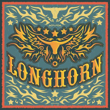 Longhorn vintage western vector design - Rodeo cowboy poster