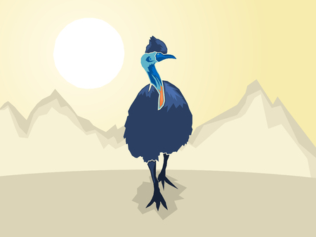 zoo dry: Australian Cassowary on a stylized mountain background, Vector illustration
