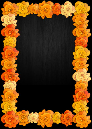 Day of the dead poster with traditional cempasuchil flowers used for altars, Mexican holiday background.