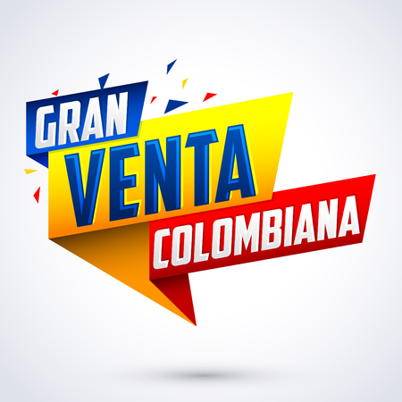 gran: Gran venta Colombiana - Colombian big sale spanish text, vector modern colorful promotional banner Illustration
