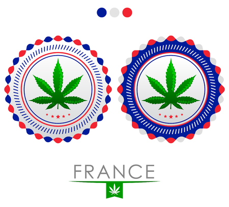 french culture: France marijuana emblem - vector cannabis seal of approval with the colors of the flag of  France Illustration
