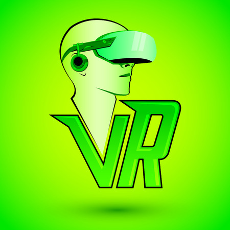 VR Virtual reality icon with man wearing headset