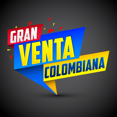 Gran venta Colombiana - Colombian big sale spanish text, vector modern colorful promotional banner Illustration