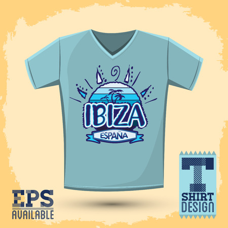 Graphic T- shirt design, Ibiza Espana - Ibiza Spain spanish text, Vector illustration, shirt print