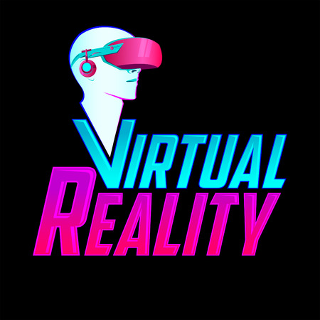 Virtual Reality emblem, headset vector modern illustration icon.