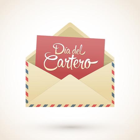 Dia del Cartero - Mailman dag spaans tekst, National dank een Mailman Day vector kaart