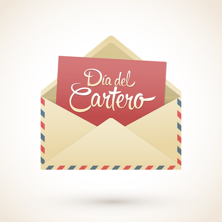 Dia del Cartero - Mailman day spanish text, National Thank A Mailman Day vector card Illustration
