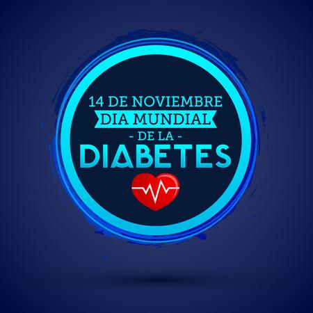 Dia mundial de la Diabetes - World Diabetes Day 14 november spanish text. vector Diabetes blue circle symbol, emblem, icon.