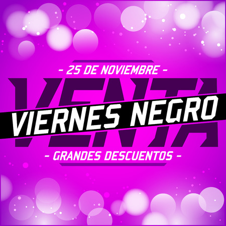 sell: Viernes Negro Venta - Black Friday Sale spanish text - vector special offer lettering