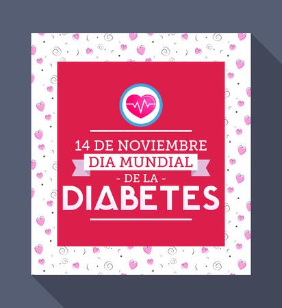 Dia mundial de la Diabetes - World Diabetes Day 14 november spanish text. Vector illustration card, poster or banner