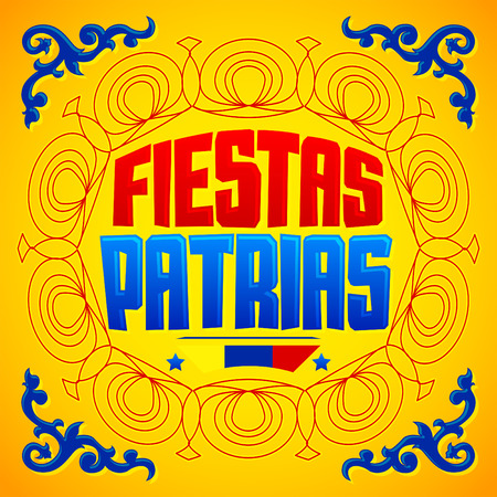 tradition: Fiestas Patrias - National Holidays spanish text, Colombia theme patriotic celebration banner, Colombian flag color Illustration