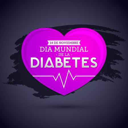 Dia mundial de la Diabetes - World Diabetes Day 14 november spanish text, vector Diabetes heart symbol, emblem, icon.