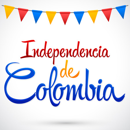 independence: Independencia de Colombia - Colombia independence Day spanish text, Colombian traditional holiday, Independence celebration.