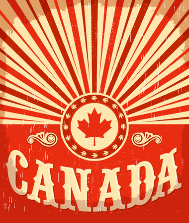 canadian flag: Canada vintage old poster with Canadian flag colors - vector design, Canada holiday decoration. Illustration