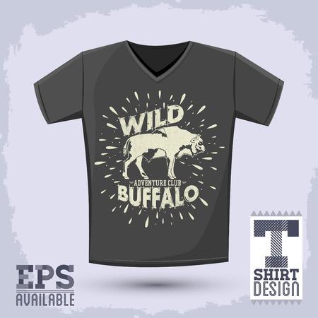 Wild Buffalo vector vintage emblem design, t-shirt vector apparel print design