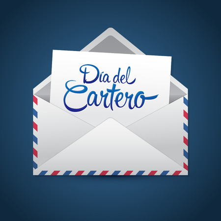 Dia del Cartero - Mailman day spanish text, National Thank A Mailman Day vector card Фото со стока - 68224250