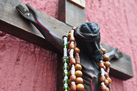 1a9e3b5eebf9 Mexican wooden crucifix with traditional prayer beads
