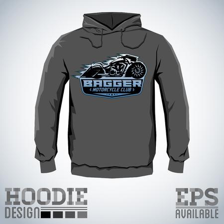 bagger: Bagger Motorcycle Club Vector hoodie print design, sweatshirt template. Illustration
