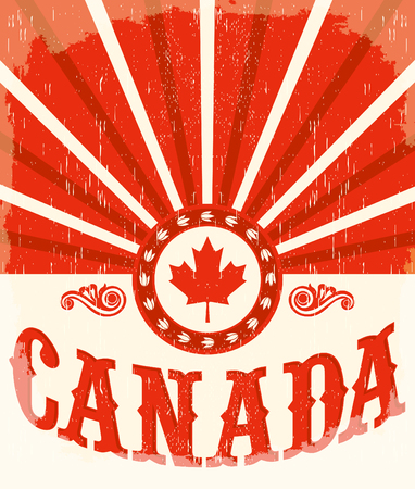 Canada vintage old poster with Canadian flag colors, vector design, Canada holiday decoration Illustration