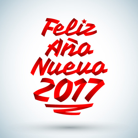 Feliz Ano nuevo 2017 - Spanish translation: happy new year 2017, vector made with ribbons - typographic design