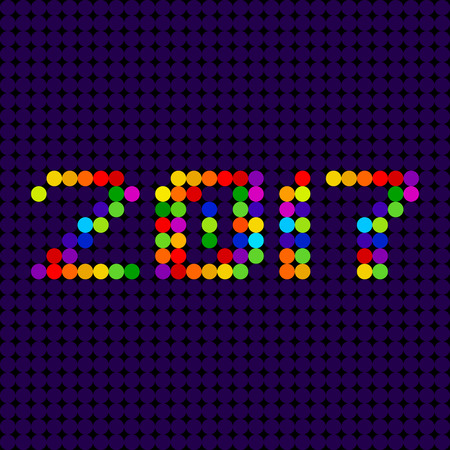 led: 2017 led typographic design, Dotted numbers vector illustration Illustration