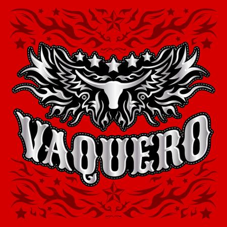 rodeo: Vaquero - spanish translation: Cowboy, Rodeo cowboy poster, Longhorn vintage western vector design