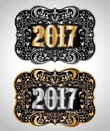 2017 New year Cowboy belt buckle design, 2017 western badge Vectores