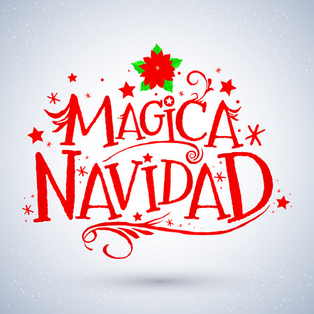 Magica Navidad, Spanish translation: Magic Christmas, Holiday Greeting Card. Merry Christmas lettering, vector illustration Фото со стока - 68900358