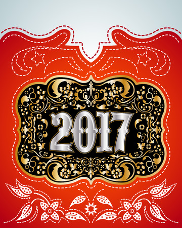 2017 western style holidays design, cowboy belt buckle with background, event poster