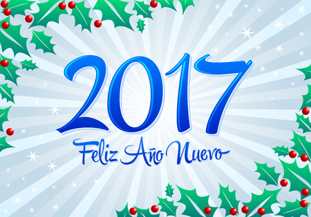 happy new year banner: 2017 Feliz Ano nuevo - 2017 happy new year spanish text vector lettering with holiday background Illustration