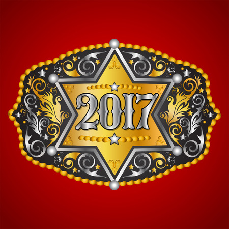 2017 year western cowboy belt buckle with sheriff badge vector design 向量圖像