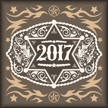 tack: 2017 year western cowboy belt buckle with sheriff badge vintage vector design