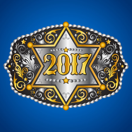 cooper: 2017 year western cowboy belt buckle with sheriff badge vector design Illustration