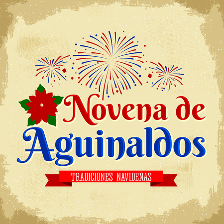 holiday tradition: Novena of Christmas bonuses - Spanish translation: Ninth of Bonuses, It is a Catholic Christmas tradition in Colombia, latin american holiday with fireworks background vector