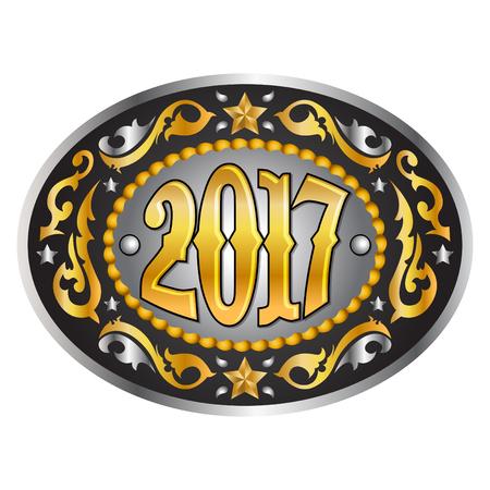 trofeo: hebilla de cinturón oval de vaquero del oeste 2017 años, ilustración vectorial Vectores