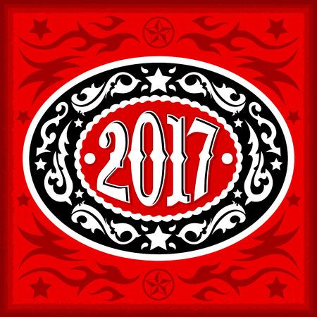 2017 年オーバル西部カウボーイ ベルト バックル、ベクトル イラスト  イラスト・ベクター素材