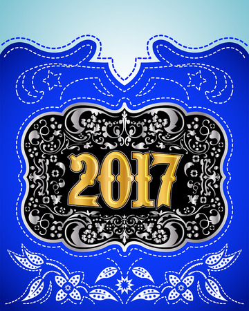 gold buckle: 2017 western style holidays design, cowboy belt buckle with background, event poster