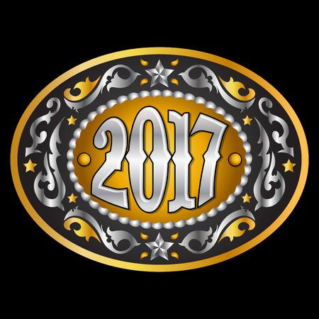 2017 year oval western cowboy belt buckle, vector illustration Illustration