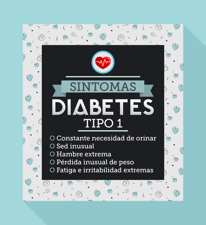 type 1 diabetes: Sintomas Diabetes tipo 1, Spanish translation: Symptoms of type 1 diabetes, Constant urge to urinate, Unusual thirst, Extreme hunger, Weight loss, Extreme fatigue. Informative diabetes text