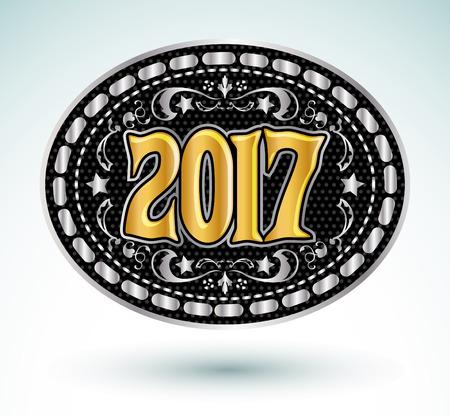 2017 西部カウボーイ ベルト バックル ベクトル図
