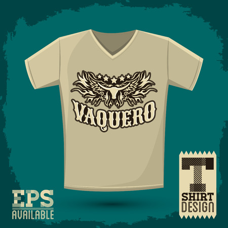 vaquero: Vaquero - spanish translation: Cowboy emblem design, t-shirt vector apparel print design