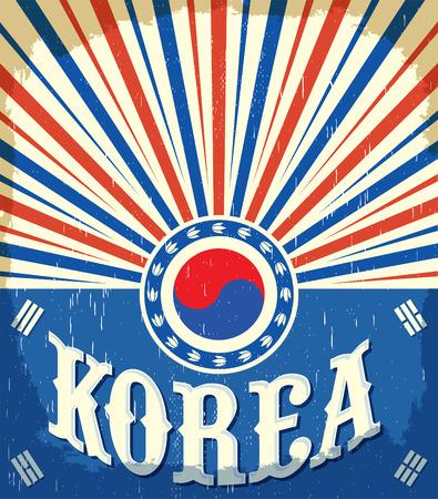South Korea vintage old poster with Korean flag colors, vector design, Korea holiday decoration Vector Illustration