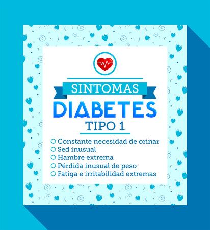 Sintomas 糖尿病の tipo 1、スペイン語翻訳: 極度の空腹、異常な喉の渇き、排尿する定数を求める 1 型糖尿病の症状体重減少、極度の疲労。有益な糖尿