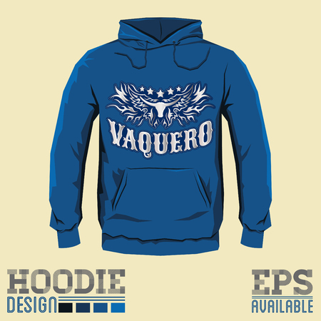 vaquero: Vaquero, Cowboy spanish translation, Vector hoodie print design template Illustration