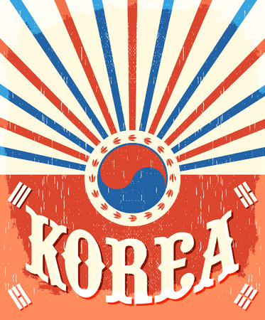 vintage colors: South Korea vintage old poster with flag colors, vector design, holiday decoration