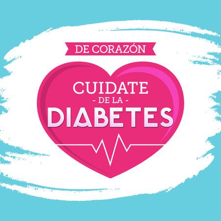 De Corazon, Cuidate de la Diabetes, Spanish translation: From the Heart, Take Care of Diabetes. 일러스트
